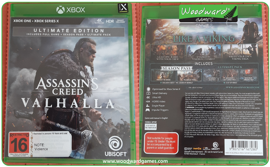 Assassin's Creed Valhalla Game Box - Front and Back - Woodward Games