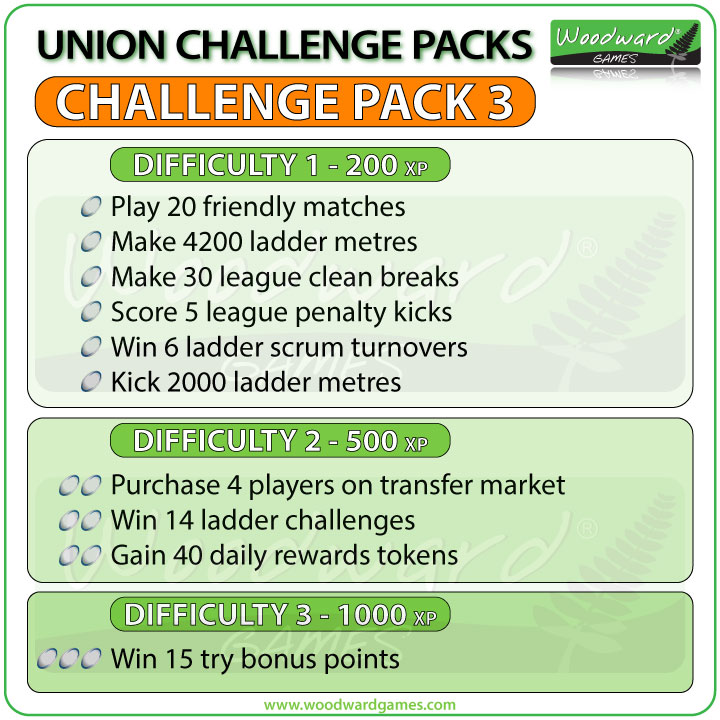 Union Challenge Pack 3 - Blackout Rugby Challenges for Unions